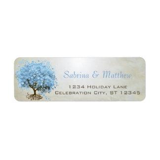 Helle Pulver-Blau-Herz-Blatt-Baum-Rücksendeadresse