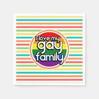 Helle Regenbogen-Streifen, homosexuelle Familie Papierserviette