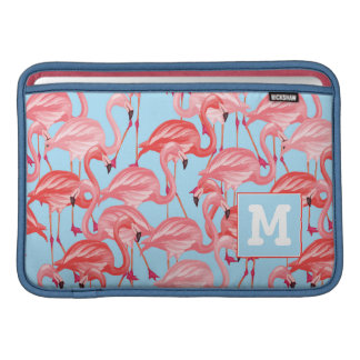 Helle rosa Flamingos auf Blau | addieren Ihre MacBook Sleeve