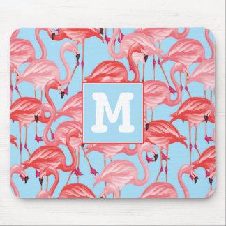 Helle rosa Flamingos auf Blau | addieren Ihre Mousepads