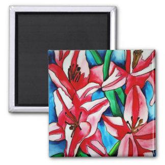 Helle rosa Tageslilien-Blumenkunstmagneten Quadratischer Magnet