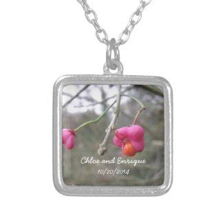 Helle rosa und orange Blumen-Hochzeit Halskette Mit Quadratischem Anhänger