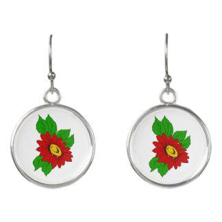 Helle rote Sommerzeit-Blume Ohrringe