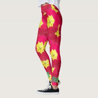 Helle rote und gelbe mit Blumenprimel Leggings