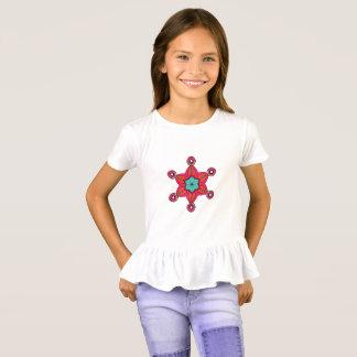 Helle rote Vintage Blumen des abstrakten T-Shirt