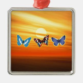 Helle Schmetterlinge Silbernes Ornament