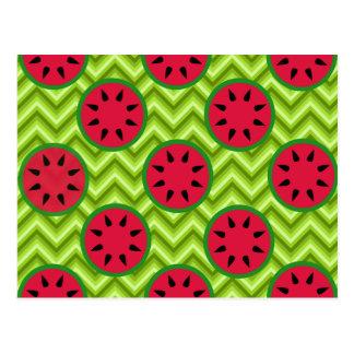 Helle Sommer-Picknick-Wassermelonen auf grünem Postkarte