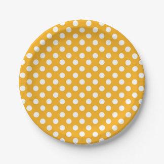 Helle Sonnenblume-gelbe u. weiße Tupfen Pappteller