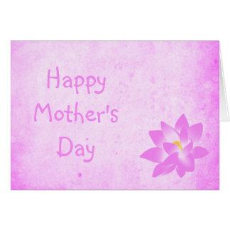 Helle Vintage rosa Karte der Wasser-Lilien-Mutter