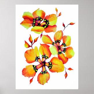 Helle Watercolor-Orangen-Blumen Poster