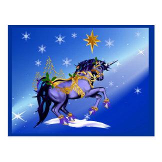 Helle WeihnachtsEinhorn-Postkarte Postkarten
