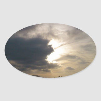 Helle Wolke Ovaler Aufkleber