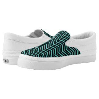 Heller aquamariner Zickzack-gestreiftes Slip-On Sneaker