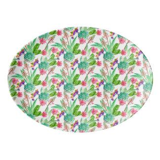 Heller Aquarell-Kaktus u. saftiges Muster Porzellan Servierplatte