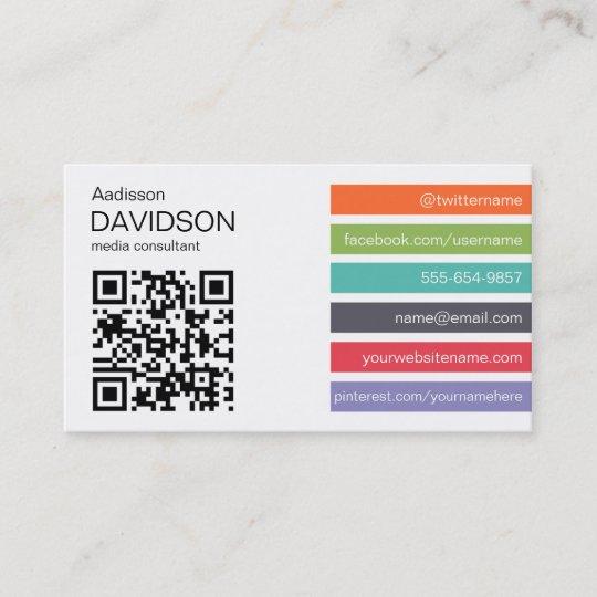 Heller Bar Qr Code Sozialmedium Geschäfts Karte Visitenkarte