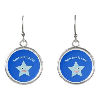 Heller blauer Feier-Stern-kundenspezifische Ohrringe