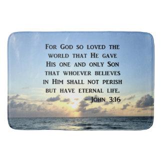HELLER BLAUER JOHN-3:16 OZEAN-FOTO-ENTWURF BADEMATTEN