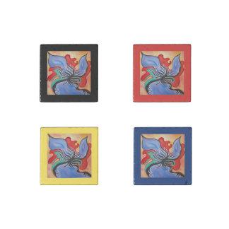 Heller blauer und roter abstrakter steinmagnet
