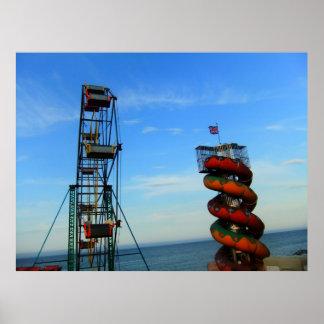Heller britischer Funfair-großes Rad Helter Poster