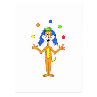 Heller bunter Clown-HundeCartoon Postkarte