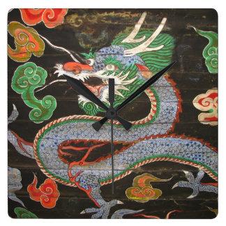Heller bunter | Drache der asiatischen Kunst- Quadratische Wanduhr