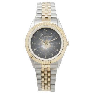 Heller goldener Skorpion Armbanduhr