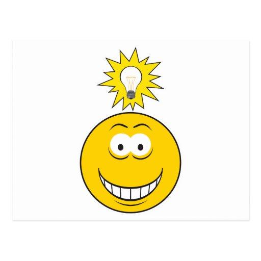 Heller Ideen-Smiley Postkarte
