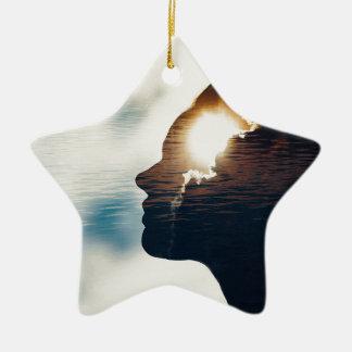 Heller Kopf Keramik Stern-Ornament