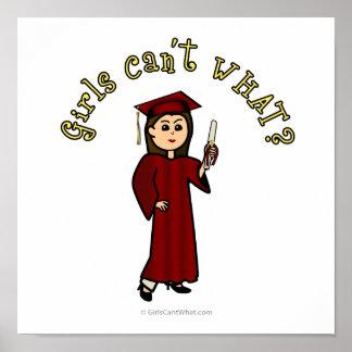 Heller Mädchen-Absolvent in der roten Kappe und im Poster