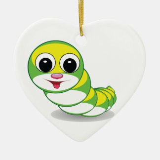 heller Raupenwurm Keramik Herz-Ornament