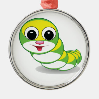 heller Raupenwurm Rundes Silberfarbenes Ornament