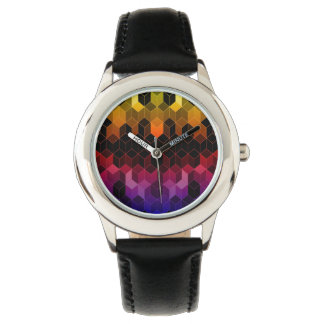 Heller Regenbogen-Würfel-Entwurf Armbanduhr