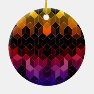 Heller Regenbogen-Würfel-Entwurf Keramik Ornament