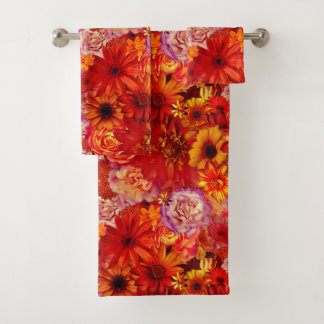 Heller Rojo mit Blumenblumenstrauß-reiche glühende Badhandtuch Set