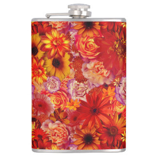 Heller Rojo mit Blumenblumenstrauß-reiche glühende Flachmann