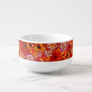 Heller Rojo mit Blumenblumenstrauß-reiche glühende Große Suppentasse