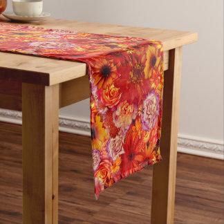 Heller Rojo mit Blumenblumenstrauß-reiche glühende Mittelgroßer Tischläufer