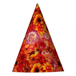 Heller Rojo mit Blumenblumenstrauß-reiche glühende Partyhütchen