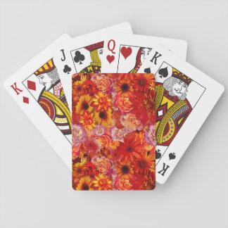 Heller Rojo mit Blumenblumenstrauß-reiche glühende Spielkarten