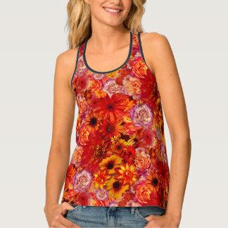 Heller Rojo mit Blumenblumenstrauß-reiche glühende Tanktop