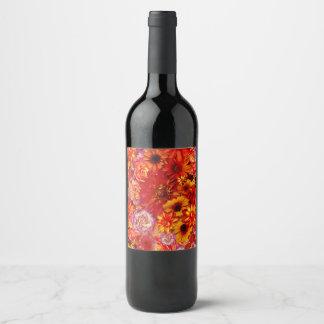 Heller Rojo mit Blumenblumenstrauß-reiche glühende Weinetikett