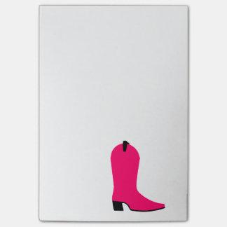 Heller rosa Cowboystiefel Post-it Klebezettel