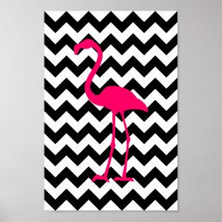 Heller rosa Flamingo-Schwarzweiss-Zickzack Poster