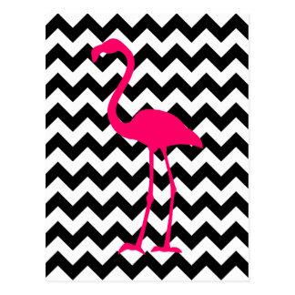 Heller rosa Flamingo-Schwarzweiss-Zickzack Postkarte