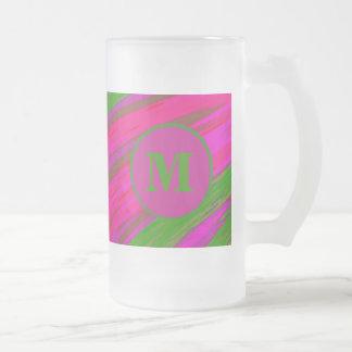 Heller rosa grüner MonogrammSwish abstrakt Mattglas Bierglas