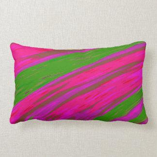Heller rosa und grüne FarbSwish abstrakt Lendenkissen