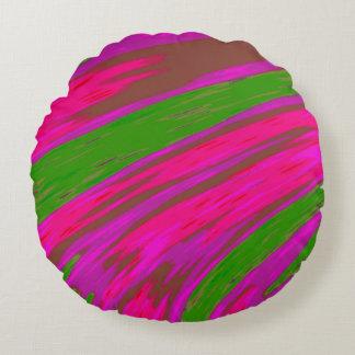 Heller rosa und grüne FarbSwish abstrakt Rundes Kissen