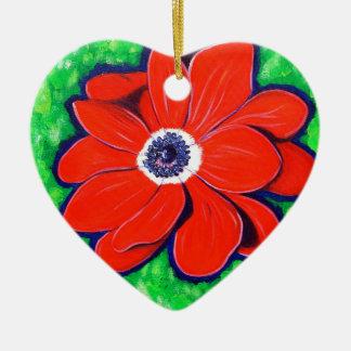 Heller roter Windflower Keramik Ornament