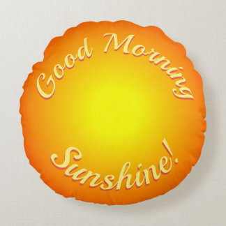 Heller sonniger guter Morgen-Sonnenschein-orange Rundes Kissen