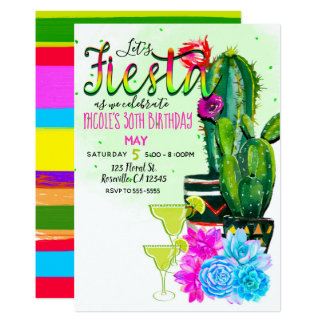 Heller Streifen-Fiesta-Kaktus u. Succulents-Party Karte